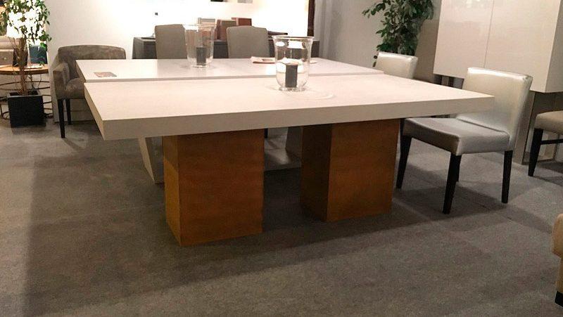 Mesa muebles acabado patas acero corten tapa hormigon